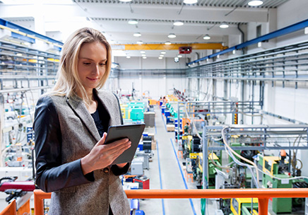 Woman using Warehouse Automation Software