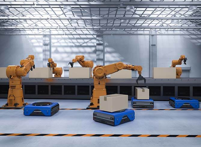 Robots used in warehouse automation